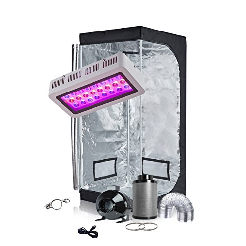 TopoGrow LED Grow Tent Complete Kit LED 300W Grow Light Kit Panel Lamp Full-Spectrum+32'x32'x63' Indoor Grow Tent Package +4' Fan&Filter&Ducting Combo Hydroponic Growing System