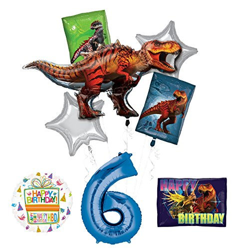 Mayflower Products Jurassic World Dinosaur 6th Birthday Party Supplies and Balloon Decorations -