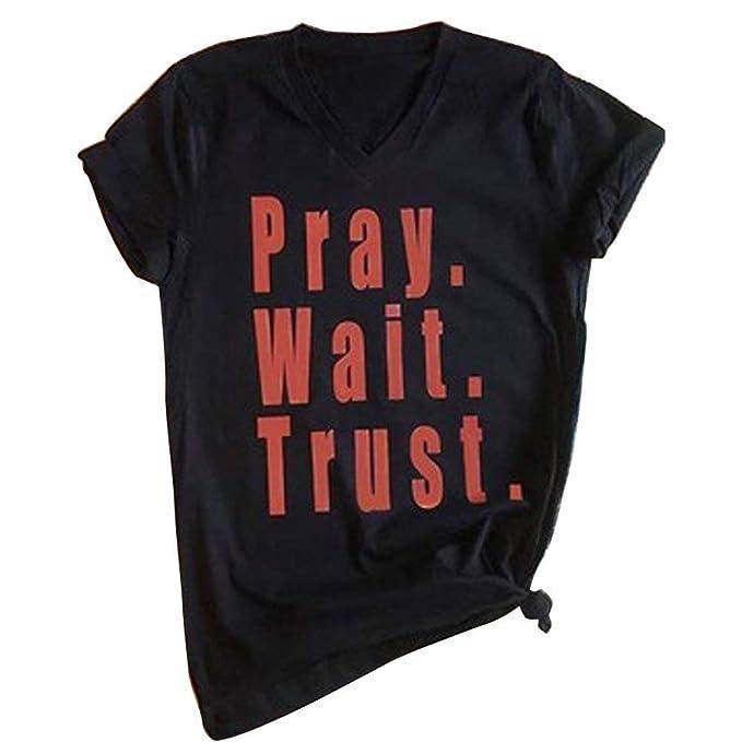 00af1e1f0 Casual Pray Wait Trust Letter Print Shirt Tees for Women Shirts T Shirt  Ladies Short Sleeve