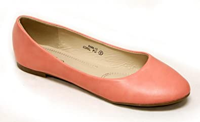 5baa785dc79 Bella Marie Dana-13 Comfortable Classical Ballerina Flats Rounded Toe PU  Boat Slip On Shoes
