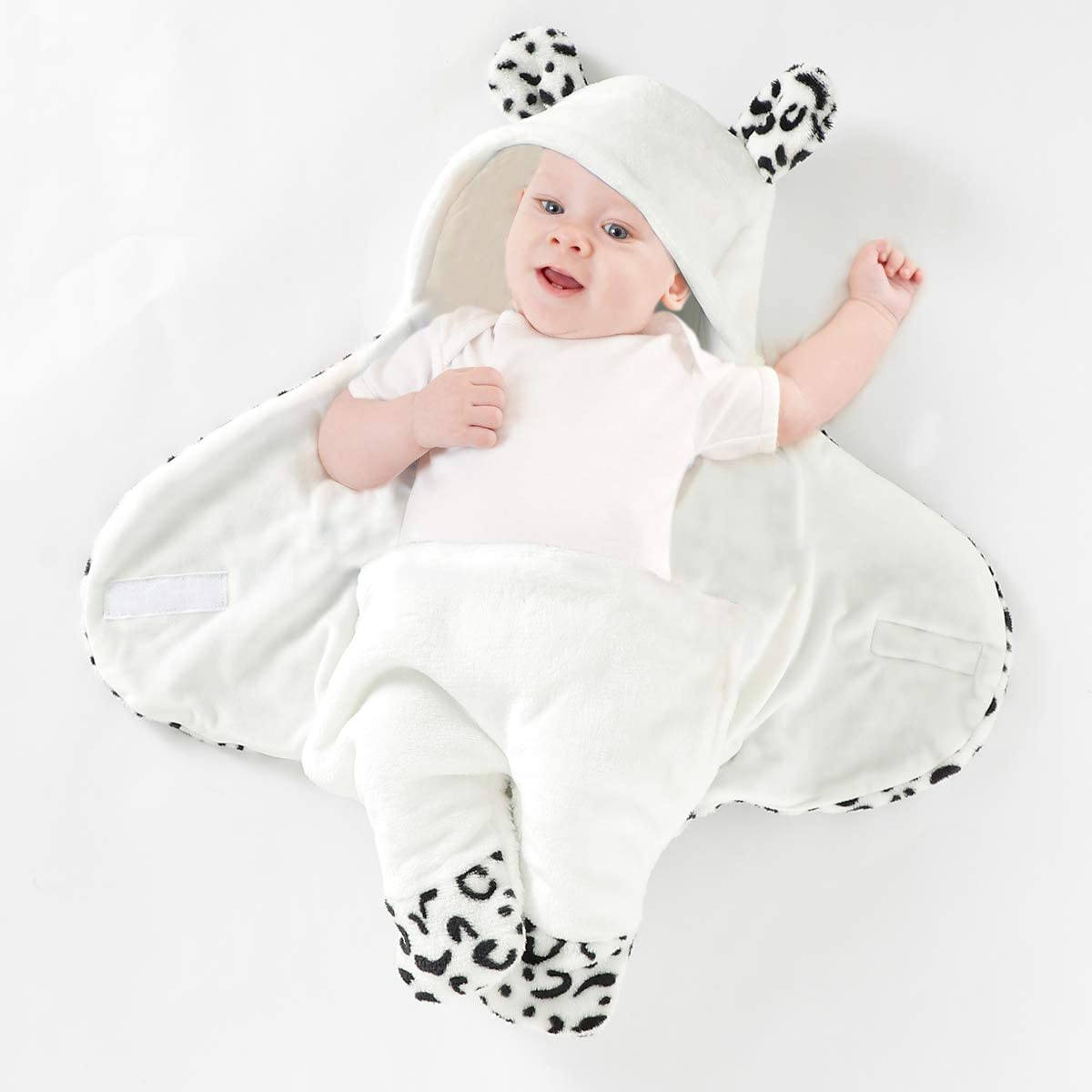 Pattern Isyunen Newborn Baby Swaddle Receiving Blanket Hooded Sleeping Bag Fleece Swaddle Sack for Boy and Girls