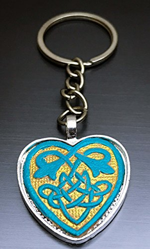 [Turquoise and Gold Hand-Painted Tooled Veg Tanned Leather Celtic Heart Keychain] (Goddess Of Romance Adult Costumes)