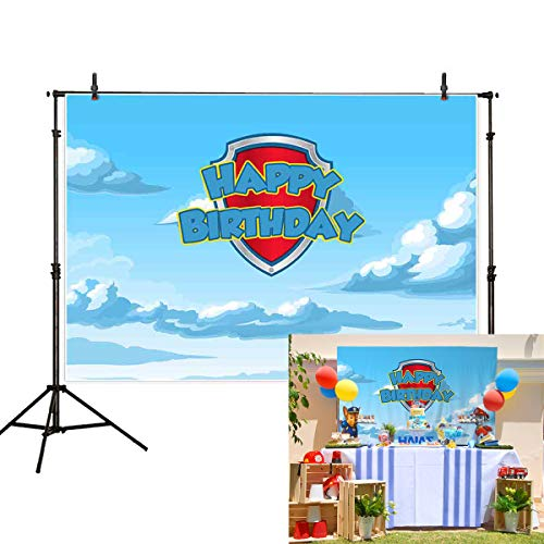 (Allenjoy 7x5ft Cartoon Anime Theme Birthday Party Backdrop Blue Sky and White Clouds Kids Shield Photography Background Cake Table Banner Decoration Photo Booth Studio Props)
