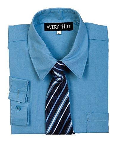 Avery Hill Boys Long Sleeve Dress Shirt With Windsor Tie Crystal Blue 12