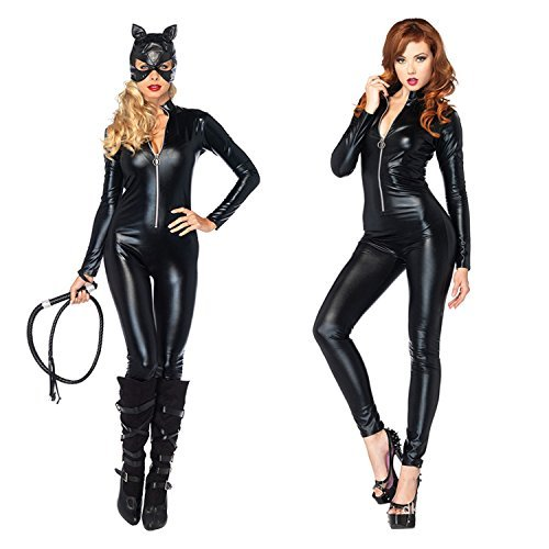 600ca94c52c Discoball Ladies Catwomen Jumpsuit Fancy Cosplay Catsuit Costume PU Leather  Catwoman Party Outfit Tight Bodysuit Dress up (XL UK10-12)  Amazon.co.uk   ...