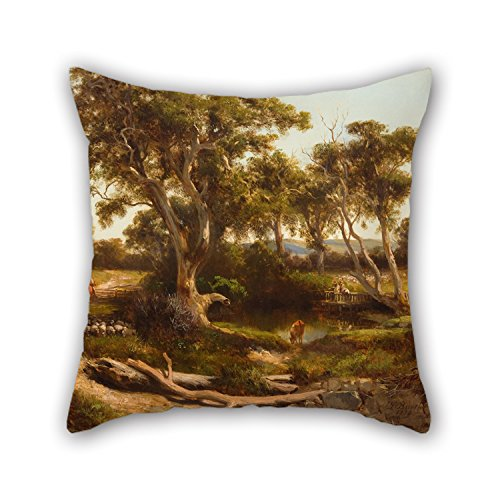 Oil Painting Louis Buvelot - Sheep Wash In The Western District Pillow Cases 16 X 16 Inches / 40 By 40 Cm Best Choice For Play Room,deck Chair,car Seat,couch,wife,sofa With Twin Sides (150 000+ Embroidery Designs compare prices)