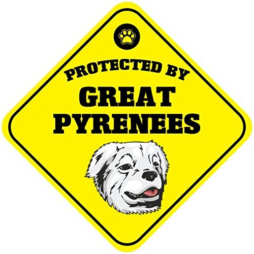 Gloria Yerkes Protected By Great Pyrenees Dog Metal Aluminum Novelty Sign 12x12 (Great Pyrenees Welcome Sign)