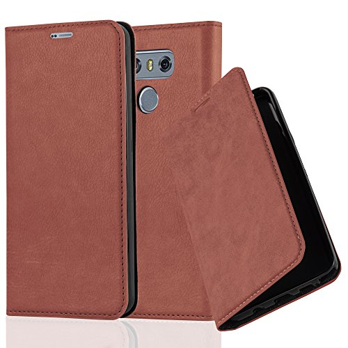 Cadorabo Book Case Works with LG G6 in Cappuccino Brown - with Magnetic Closure, Stand Function and Card Slot - Wallet Etui Cover Pouch PU Leather Flip