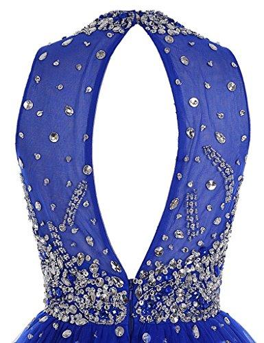 Perles De Cristal Cdress Col Haut Courte Robes De Bal En Tulle Robes De Fête De Retour Aux Sources De Corail