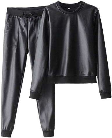 Laisla fashion Tops Moda Mujer Elegante Invierno Suelto Clásico Más Terciopelo Más Grueso Camisa De Mujer Cintura Alta Más Terciopelo Pantalones Pequeños De Cuero Traje Mujer Chicos: Amazon.es: Ropa y accesorios