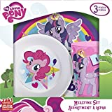 Zak! Designs Mealtime Set with Plate, Bowl and Tumbler featuring My Little Pony Graphics, Break-resistant and BPA-free plastic, 3 Piece Set offers