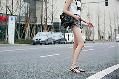 La Sra metálicos sandalias de cuero abeja mariposas decorativas llevan zapatos de mujer plana con colores mezclados Black