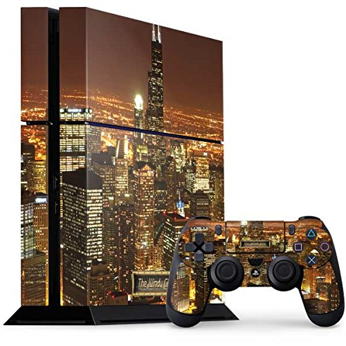 Scenic Cities PS4 Console and Controller Bundle Skin - Chicago Illuminated Cityscape | Photography X Skinit Skin
