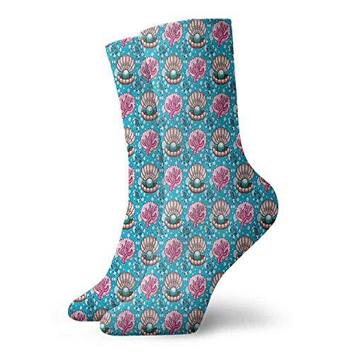 Men Novelty Pearls Underwater Animal Design Light Cushion Athletic Socks