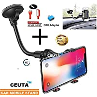 CEUTA®,Soft Tube Mobile Holder with Multi-Angle 360 Degree Rotating Clip, Windshield Mirror Smartphone Car Holder for Mobile Phone - Double Duck | Strong Suction Cup Base