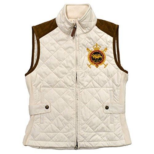 Ralph Lauren Sport Women Equestrian Crest Vest Suede Trim ESSEX CRM (Crm Trim)