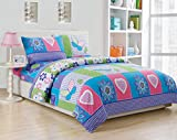 MK Home Mk Collection 3Pc Twin Size Butterfly Purple Pink Turquoise Green Flowers Girls Teens Sheet Set New (Twin Sheet1)
