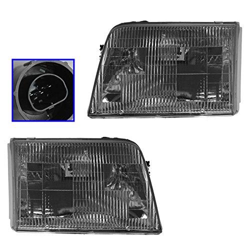 Headlights Headlamps Left & Right Pair Set for 93-97 Ford Ranger Pickup Truck