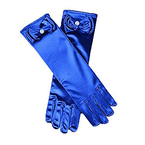 (MLQM Little Girls Satin Wedding Party Stretch Gloves Elbow Length Bow Beaded)