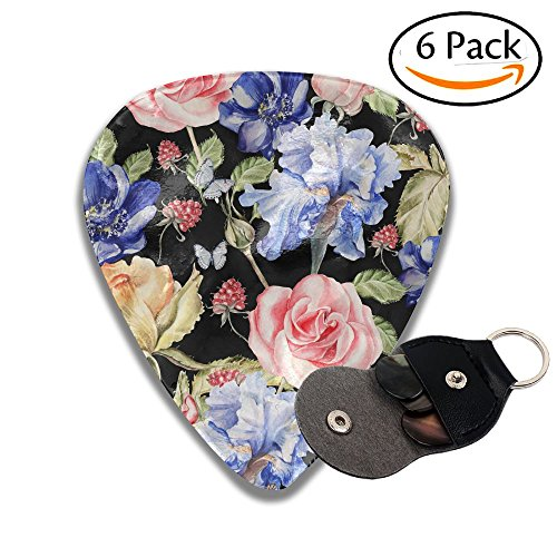XiHuan Beautiful Colorful Watercolor Pattern With Flowers Iris Anemones Roses And Raspberries Colorful Celluloid Guitar Picks Plectrums For Guitar Bass .46mm 6 Pack