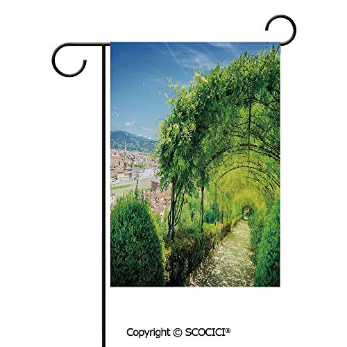 (SCOCICI Double Sided Washable Customized Unique 28x40(in) Garden Flag Boboli Gardens in Florence Italy Famous Natural Landmark Tourist Attraction,Green Blue,Flag Pole NOT Included)