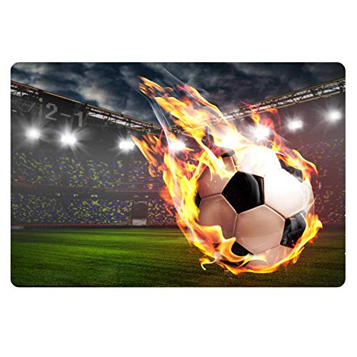 FOR U DESIGNS Anti-Skid Kitchen Mat Runner Rug Flame Soccer Doormat Modern Soccer Court of Football Door Mats Rubber Backing Carpet Indoor Floor Mat