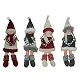 Northlight Set of 4 Plush Red, Gray, and Beige Girls Christmas Doll Ornaments 12″ For Sale
