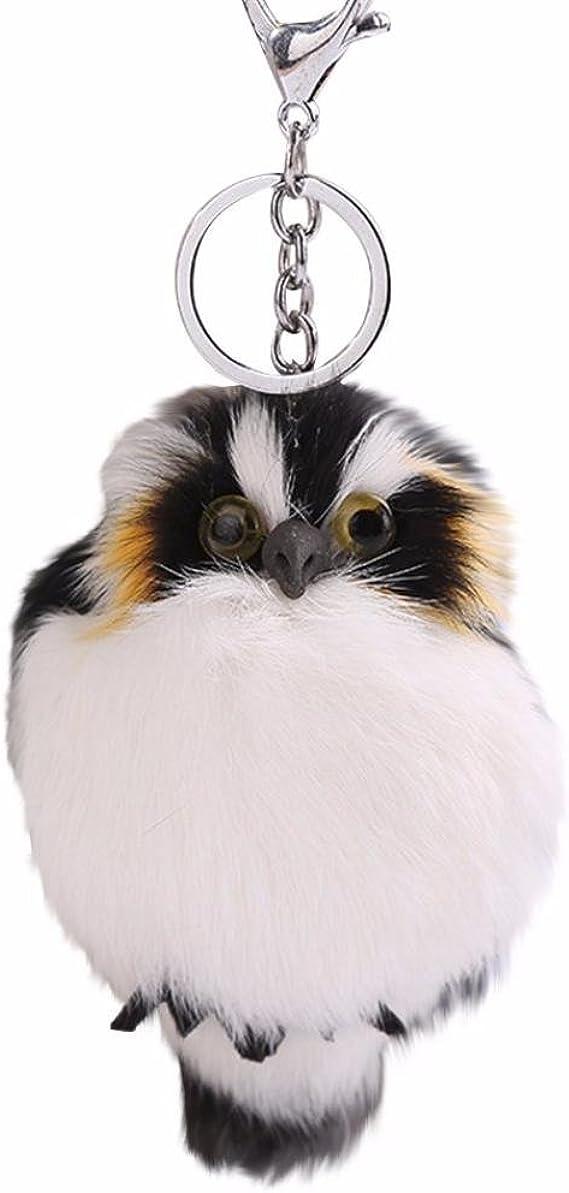 Cute Birds on Black Key Fob Fabric Key Chain