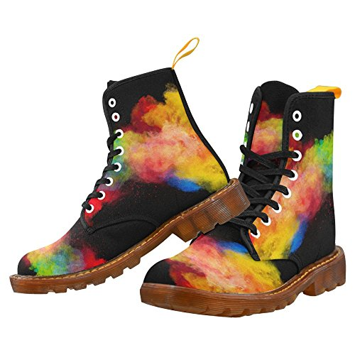 InterestPrint Graffiti Martin Boots Fashion Shoes For Women Freeze Motion of Colored Dust Explosion