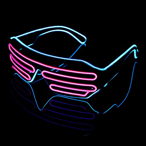 LED Light Up Glasses Sound Activated Shutter EL Wire Neon Glasses for Halloween Bar Glowing Party Mask Decor ( Blue Frame + Pink ) H090Z