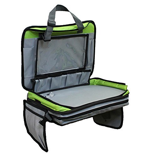 Kids Travel Tray Car Seat Organizer with Cup and Tablet Holder-Green- Large Sturdy Writing Surface-by Gruffleheads