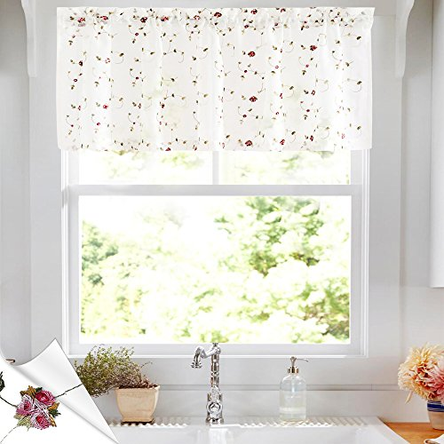 (jinchan Sheer Curtains Floral Embroidered Valance Curtains for Bedroom Red Rose Buds on White Rod Pocket Voile Panels for Living Room 18
