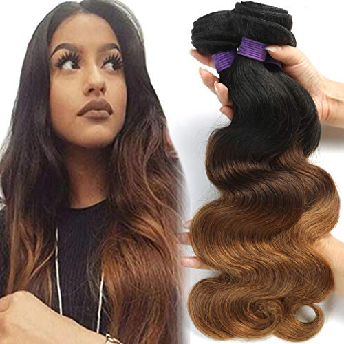 (BLACKMOON HAIR Brazilian Virgin Ombre Hair Body Wave Hair Weave Three Bundles Unprocessed Virgin Ombre Human Hair Extensions T1B/4/30(12 14 16 Inch))