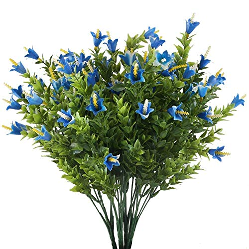 (XYXCMOR 4pcs Artificial Eucalyptus Leaves Fake Greenery Farmhouse Decor Shrubs Plastic Flowers Home Kitchen Garden Windowsill Porch Decoration Blue)