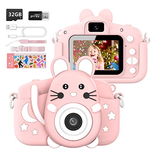 HANGRUI Kids Camera 1080P HD 20.0MP Kids Digital Video Camera Children Mini Selfie Camera 2.4 inch Screen Video Camcorder Toddler Toys with 32GB SD Card for 3-12 Years Old Boys Girls Gift