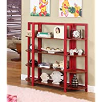 Red / Walnut Finish Wood Foldable 4 Tier Shelves Bookcase Plant Stand