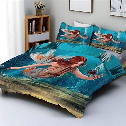 Duplex Print Duvet Cover Set King Size,Lifelike Mermaid Holding a Sea Lily Magic Aquatic World ThemeDecorative 3 Piece Bedding Set with 2 Pillow Sham,Light Blue Burnt Sienna Yellow,Best Gift for Kids