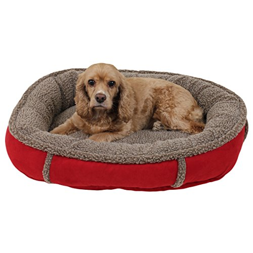 1 Piece Crimson Red Small 27 Inches Bolster Round Comfort Pet Bed, Light Red Color Comfy Cup Style Indoor Bed For Puppy Dog, Raised Sides Joints Support Removable Cover, Loft Polyester Faux Suede (Cup Comfy Round)