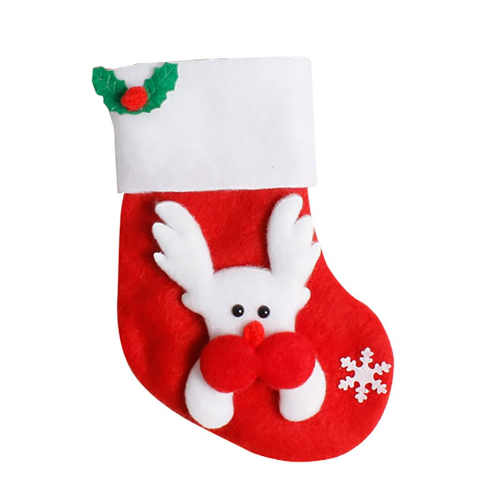 Mini Christmas Stockings Silverware Holders BSGSH Tableware Bags Santa Claus/Reindeer/Bear/Snowman Pattern Cutlery Bag Christmas Decorations Xmas Party Ornament Gifts (Reindeer)