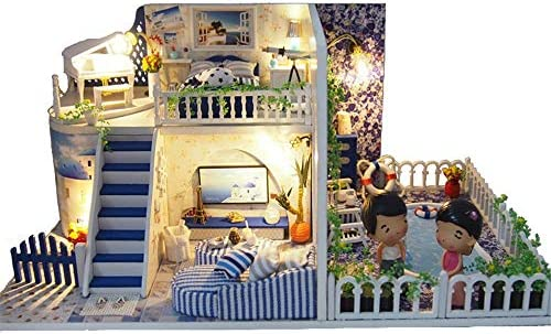 DIY ドールハウス 女性と女の子のためのDIYミニチュアルームセット、木工芸構築キット木製モデルの構築セットミニハウス工芸ベスト誕生日プレゼント (Color : Multi-colored, Size : 30.4x19.4x14.3cm)