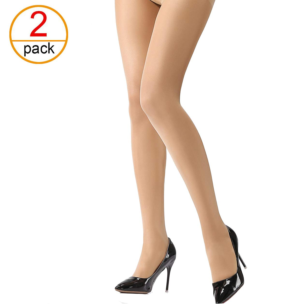 HONENNA Women's Semi Sheer Opaque Tights Reinforced Toe Panty Hose Control Top Hosiery (B+, Nude)