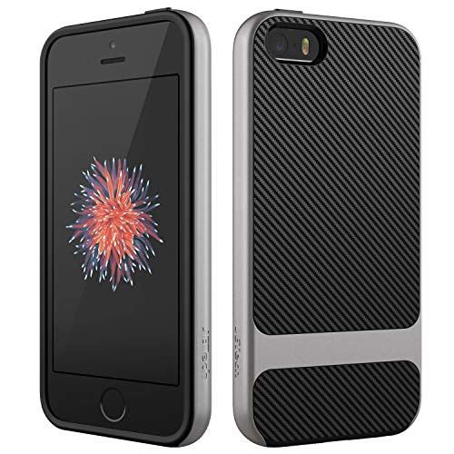 JETech Case for Apple iPhone SE 5s 5, Slim Protective Cover with Shock-Absorption, Carbon Fiber Design, Grey