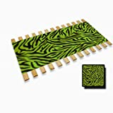 New Twin Size Wooden Bed Slats with Lime Green Zebra Animal Print