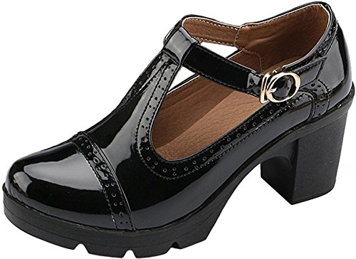(PPXID Women's British Style T-Bar Platform Heeled Oxford Shoes Work Shoes-Black 9 US)