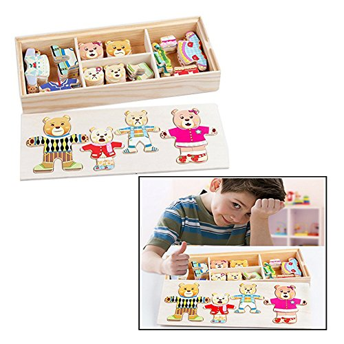 Itian 72 Pieces Wooden Wooden Bear Family Dress-Up Puzzle Games With Storage Case Educational Toy for Children