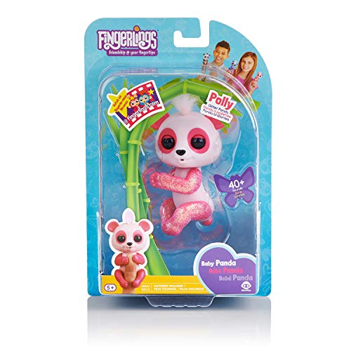 WowWee Fingerlings Glitter Panda - Polly - Interactive Collectible Baby Pet, Pink by WowWee (Image #6)