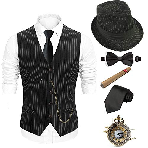 1920s Costume Accessories Set for Men - Fedora Hat,Gatsby Gangster Vest,Vintage Pocket Watch,Plastic Cigar,Pre Tied Bow -