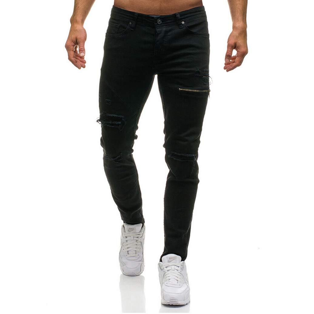 Men's Ripped Skinny Distressed Destroyed Slim Fit Stretch Biker Jeans Denim Pants Holes (XL=US L, Black)