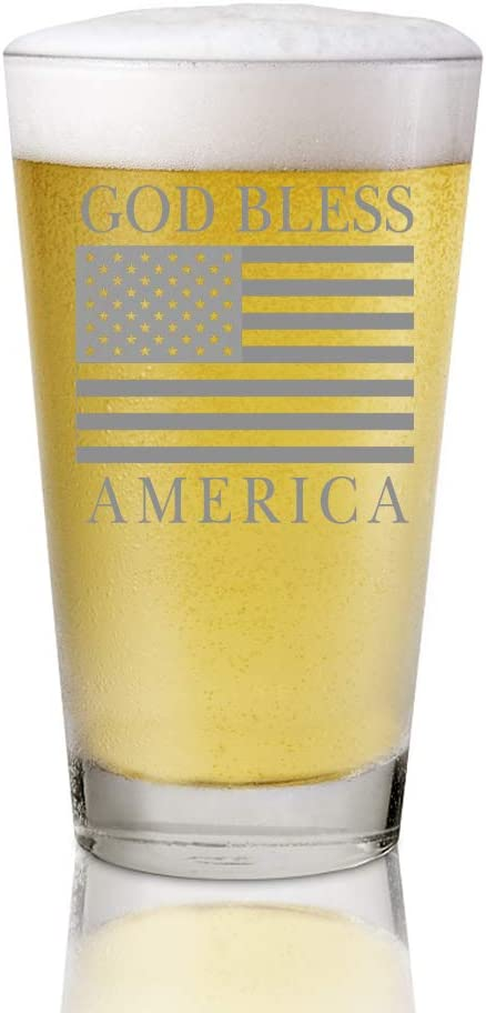 AGMdesign, Super Patriotic American Flag Mug, 16 oz Beer Pint Glass,God Bless America, American Flag Beer Glass