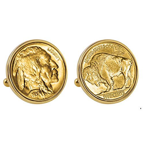 Smithsonian Institution Gold-Layered Buffalo Nickel Goldtone Bezel Coin Cuff Links ()